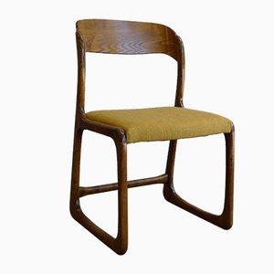 Französischer Vintage Modell Traineau oder Sleigh Beistellstuhl aus Eschenholz von Emile & Walter Baumann, 1960er