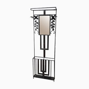 Art Deco Wrought Iron Wall Coat Rack