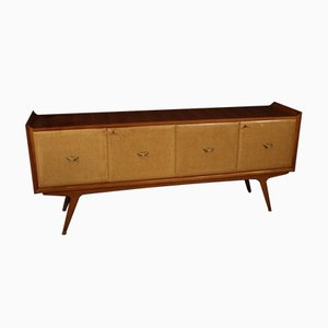 Italian Cherrywood, Burl, and Fruitwood Sideboard, 1960s