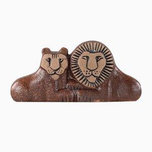 Ceramic Lions Sculpture by Lisa Larson, 1950s