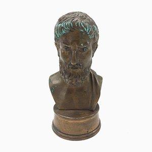 Italienische Bronze Büste eines griechischen Philosophen, 19. Jh