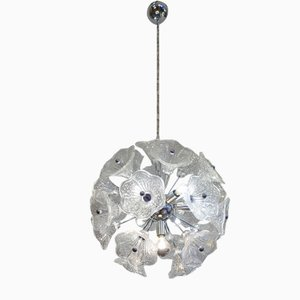 Glass Chromed Sputnik Ceiling Lamp by Paolo Venini for VeArt, 1960s