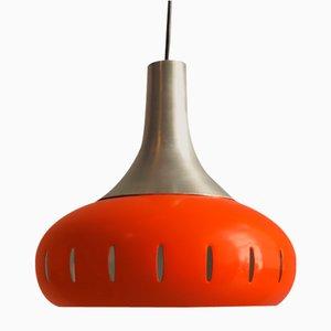 Orangefarbene Stahl Hängelampe, 1960er