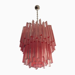 Murano Glass Chandelier with 107 Pink Triedri, 1970s