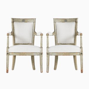 18th Century French Painted Armchairs, Set of 2