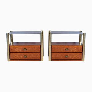 Mid-Century Italian Smoked Glass, Wood, and Brass Nightstands, 1970s, Set of 2