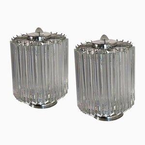 Murano Glas Quadriedri Tischlampen, 1980er, 2er Set