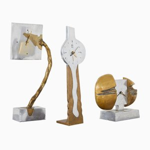 Brutalist Clocks by David Marshall, 1970s, Set of 3