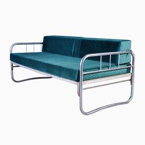 Bauhaus Tagesbett aus verchromtem Stahlrohr, 1950er