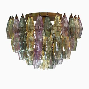 Multi Colored Murano Glass Poliedri Chandelier, 1983