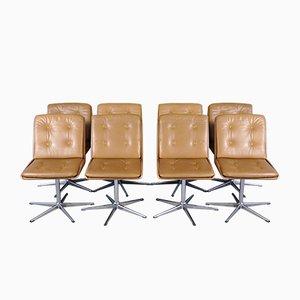 Drehbare Mid-Century Leder Esszimmerstühle, 1970er, 8er Set