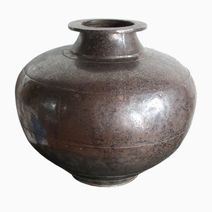 Antique Indian Hammered Metal Jar