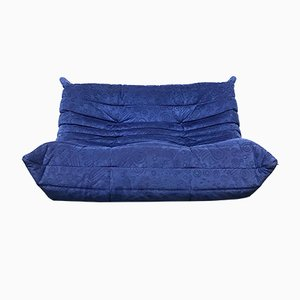 Mid-Century Blue Alcantara 2-Seater Togo Sofa by Michel Ducaroy for Ligne Roset, 1980s
