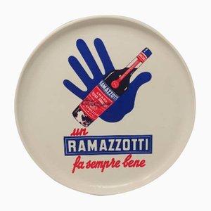 Vintage Italian Round Ramazzotti Bar Tray, 1970s