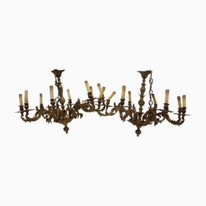 French Heavy Bronze 8-Light Chandelier, 1960s, Set of 2