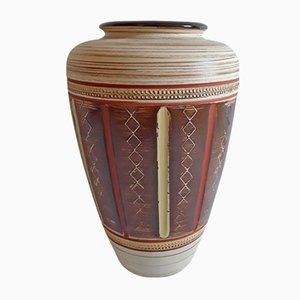 Beige, braune & gelbe geschnitzte Vintage Keramik Nr. 154 30 Vase von Scheurich, 1970er