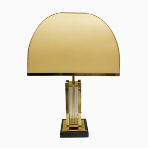 Mid-Century Italian Brass and Glass Table Lamp by Romeo Rega, 1970s