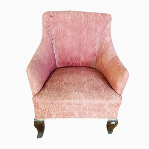 Italian Pink Fabric Lounge Chair, 1930s