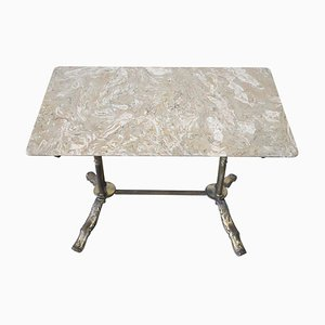 Vintage Gilded Bronze Coffee Table with Marble Top, 1950s