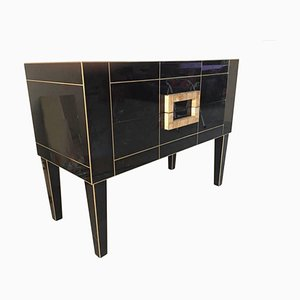 Black Glass & Mirrored Commode with Brass and Two Drawers by Zenza Art & Deco