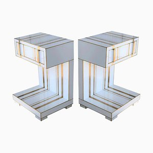 Handmade White Crystal and Brass Nightstands with Drawer and Low Shelf by Zenza, Set of 2