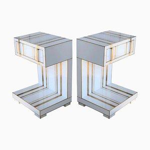 Tables de Chevet avec Tiroirs et Etagère Bas Blanc Faite à la Main en Cristal et en Laiton par Zenza, Set de 2