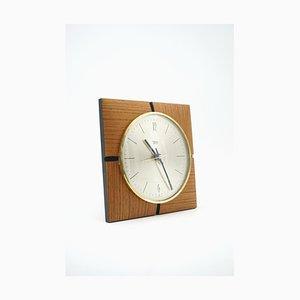Horloge Murale en Teck et Laiton de Diehl, 1964