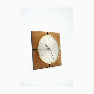 Teak and Brass Wall Clock from Diehl, 1964