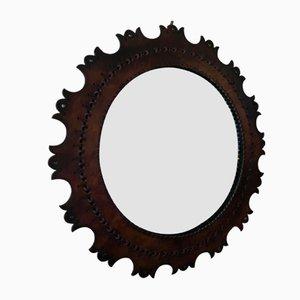Specchio rotondo vintage con cornice in pelle, anni '60