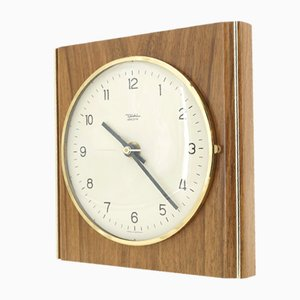 Wooden and Brass Wall Clock from Diehl, 1960s