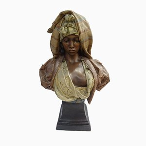 Antique Terracotta Bust Sculpture by Friedrich Goldsheider, 1889