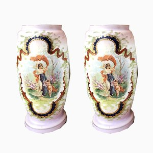 Antique Opaline Vases, Set of 2