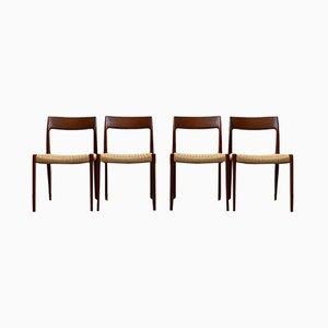 Chaises de Salon Modèle 77 Mid-Century en Teck par Niels Otto Møller pour JL Møllers, Danemark, 1960s, Set de 4