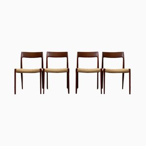Mid-Century Danish Teak Model 77 Dining Chairs by Niels Otto Møller for J.L. Møllers, 1960s, Set of 4