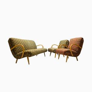 Juego de salón Mid-Century de tela y madera, años 50. Juego de 3