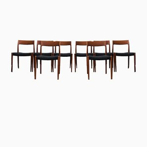 Mid-Century Danish Model 77 Dining Chairs by Niels Otto Møller for J.L. Møllers, 1960s, Set of 8