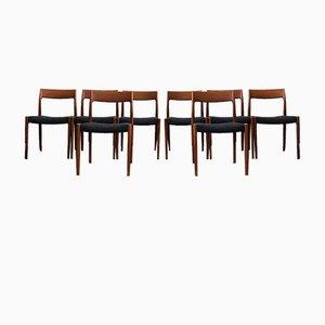 Sedie da pranzo modello 77 Mid-Century di Niels Otto Møller per JL Møllers, Danimarca, anni '60, set di 8