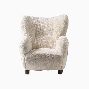 Dänischer Sessel mit Schaffell im Stil von Flemming Lassen von Fritz Hansen, 1950er