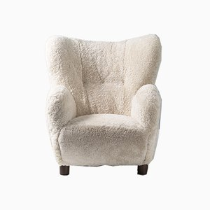 Danish Sheepskin Lounge Chair in the Style of Flemming Lassen from Fritz Hansen, 1950s