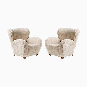 Dänische Sessel aus Schaffell von Flemming Lassen, 1940er, 2er Set