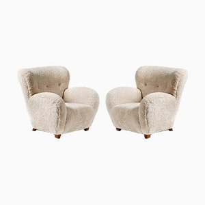 Danish Sheepskin Lounge Chairs Attributed to Flemming Lassen, 1940s, Set of 2
