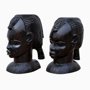 Bust Heads in Ebony, West Africa, 1970s, Set of 2