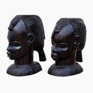Bust Heads in Ebony, West Africa, 1970s, Set of 2