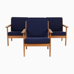 Model GE265 3-Seat Sofa and Armchair by Hans J. Wegner for Getama, 1970s, Set of 2