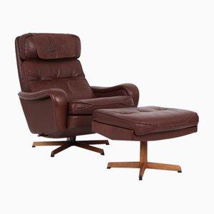 Danish Armchair and Footstool by Madsen & Schübel, 1970s, Set of 2