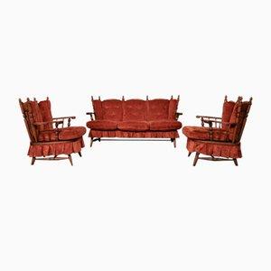 Vintage Sofas und Sessel aus Chenille Stoff mit Schaukelstuhl, Italien, 3er Set