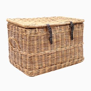 Mid-Century Wicker Laundry Basket, 1950s