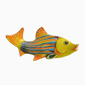 Piatto da pesce in ceramica con decorazione da parete, Italia, anni '50