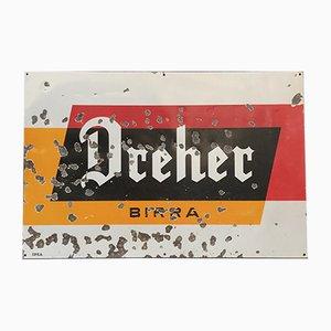 Cartel publicitario italiano vintage de metal esmaltado Dreher Beer, años 50