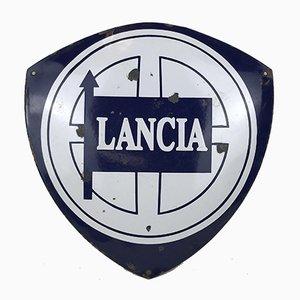 Cartel publicitario Lancia italiano vintage de metal esmaltado, años 70